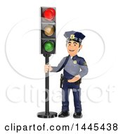 Clipart Of A 3d Male Police Officer By A Red Traffic Light On A White Background Royalty Free Illustration