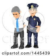 Clipart Of A 3d White Collar Criminal Business Man Being Arrested On A White Background Royalty Free Illustration
