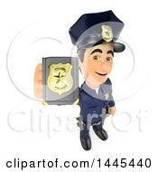 3d Male Police Officer Holding Up A Badge On A White Background