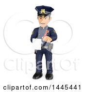 3d Male Police Officer Issuing A Ticket On A White Background