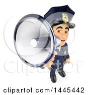 Clipart Of A 3d Male Police Officer Using A Megaphone On A White Background Royalty Free Illustration