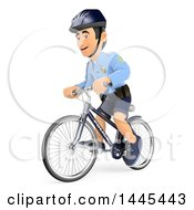 Clipart Of A 3d Male Police Officer On A Bicycle On A White Background Royalty Free Illustration