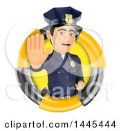 Clipart Of A 3d Male Police Officer Gesturing Stop In A Circle On A White Background Royalty Free Illustration