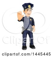 Clipart Of A 3d Full Length Male Police Officer Holding Out A Hand To Stop On A White Background Royalty Free Illustration