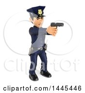 Clipart Of A 3d Full Length Male Police Officer Pointing A Gun On A White Background Royalty Free Illustration