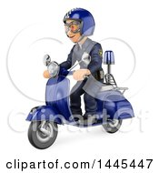 Clipart Of A 3d Male Police Officer On A Motorcycle On A White Background Royalty Free Illustration