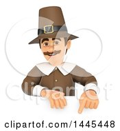 Clipart Of A 3d Male Thanksgiving Pilgrim Pointing Down Over A Sign On A White Background Royalty Free Illustration