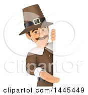Clipart Of A 3d Male Thanksgiving Pilgrim Presenting Around A Sign On A White Background Royalty Free Illustration