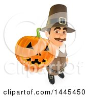 Clipart Of A 3d Male Thanksgiving Pilgrim Holding Up A Jackolantern On A White Background Royalty Free Illustration