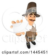 Clipart Of A 3d Male Thanksgiving Pilgrim Holding Up A Business Card On A White Background Royalty Free Illustration