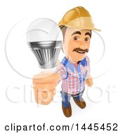 Poster, Art Print Of 3d Male Electrician Holding Up A Led Light Bulb On A White Background