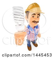 Clipart Of A 3d Male Electrician Holding Up A Flourescent Light Bulb On A White Background Royalty Free Illustration