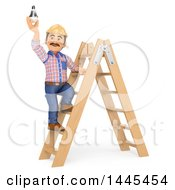 Clipart Of A 3d Male Electrician Changing A Light Bulb On A White Background Royalty Free Illustration by Texelart