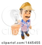 Poster, Art Print Of 3d Male Electrician Holding Up A Light Bulb On A White Background