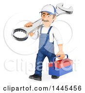 Clipart Of A 3d Male Mechanic Carrying A Spanner Wrench And Tool Box On A White Background Royalty Free Illustration by Texelart