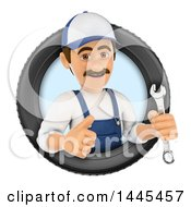 Clipart Of A 3d Male Mechanic Holding A Spanner Wrench And Giving A Thumb Up In A Tire On A White Background Royalty Free Illustration