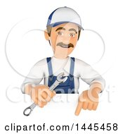 Clipart Of A 3d Male Mechanic Holding A Spanner Wrench And Pointing Down Over A Sign On A White Background Royalty Free Illustration by Texelart