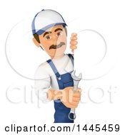 Clipart Of A 3d Male Mechanic Holding A Spanner Wrench Around A Sign On A White Background Royalty Free Illustration by Texelart