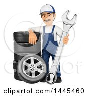 3d Male Mechanic Holding A Spanner Wrench And Leaning On A Stack Of Tires On A White Background