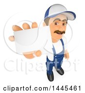 Clipart Of A 3d Male Mechanic Holding Out A Business Card On A White Background Royalty Free Illustration