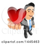 Poster, Art Print Of 3d Business Man Holding Up A Red Love Valentine Heart On A White Background