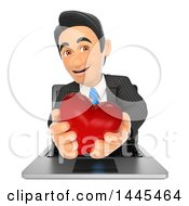 Clipart Of A 3d Business Man Holding A Red Love Valentine Heart And Emerging From A Laptop On A White Background Royalty Free Illustration