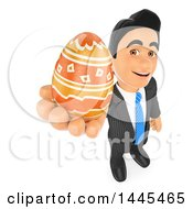 Clipart Of A 3d Business Man Holding Up A Decorated Easter Egg On A White Background Royalty Free Illustration