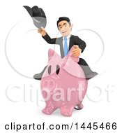 Clipart Of A 3d Business Man Holding A Cowboy Hat And Riding A Piggy Bank On A White Background Royalty Free Illustration by Texelart