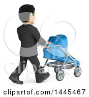 Clipart Of A 3d Business Man Walking With A Baby Stroller On A White Background Royalty Free Illustration