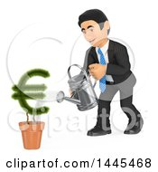 Poster, Art Print Of 3d Business Man Watering A Euro Currency Symbol Plant On A White Background