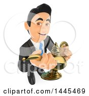 Clipart Of A 3d Business Man Holding A Genie Lamp On A White Background Royalty Free Illustration by Texelart