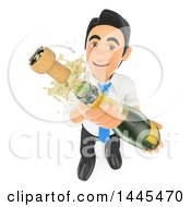 Clipart Of A 3d Business Man Shaking Up An Uncorked Bottle Of Champagne On A White Background Royalty Free Illustration by Texelart
