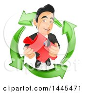 Poster, Art Print Of 3d Business Man Holding A Puzzle Piece In A Circle Of Recycle Arrows On A White Background