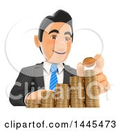 Poster, Art Print Of 3d Business Man Stacking Coins Like A Bar Graph On A White Background