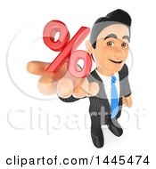 Clipart Of A 3d Business Man Holding Up A Percent Symbol On A White Background Royalty Free Illustration by Texelart