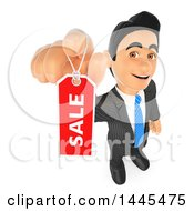 Clipart Of A 3d Business Man Holding Up A Sale Tag On A White Background Royalty Free Illustration