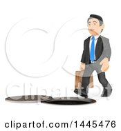 3d Business Man About To Fall Into A Sewer On A White Background