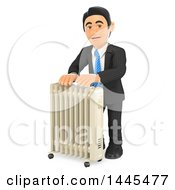 Clipart Of A 3d Business Man Warming Up By A Portable Radiator Heater On A White Background Royalty Free Illustration