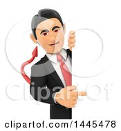 Clipart Of A 3d Devil Business Man Pointing Around A Sign On A White Background Royalty Free Illustration