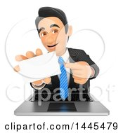 3d Business Man Emerging From A Laptop Screen And Holding Out A Business Card On A White Background