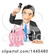 Clipart Of A 3d Business Man About To Break A Piggy Bank With A Hammer On A White Background Royalty Free Illustration
