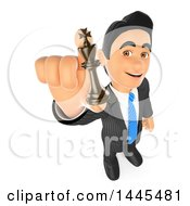 3d Business Man Holding Up A Chess King Piece On A White Background