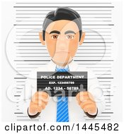 Clipart Of A 3d White Collar Criminal Business Man Getting His Mugshot Taken On A White Background Royalty Free Illustration