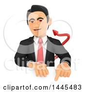 Clipart Of A 3d Devil Business Man Pointing Down Over A Sign On A White Background Royalty Free Illustration