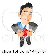 Clipart Of A 3d Business Man Ripping Off His Shirt And Revealing A USD Currency Symbol On A White Background Royalty Free Illustration by Texelart