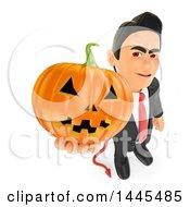 Clipart Of A 3d Devil Business Man Holding Up A Jackolantern Pumpkin On A White Background Royalty Free Illustration
