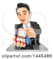 Clipart Of A 3d Business Man Emerging From A Laptop Screen And Holding An Engagement Ring On A White Background Royalty Free Illustration
