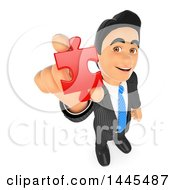 Clipart Of A 3d Business Man Holding Up A Red Solution Puzzle Piece On A White Background Royalty Free Illustration
