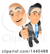 Clipart Of A 3d Unhappy Business Man Holding Up A Happy Mask On A White Background Royalty Free Illustration