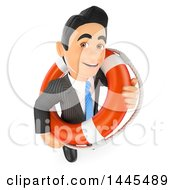 Poster, Art Print Of 3d Business Man With A Bailout Life Buoy On A White Background